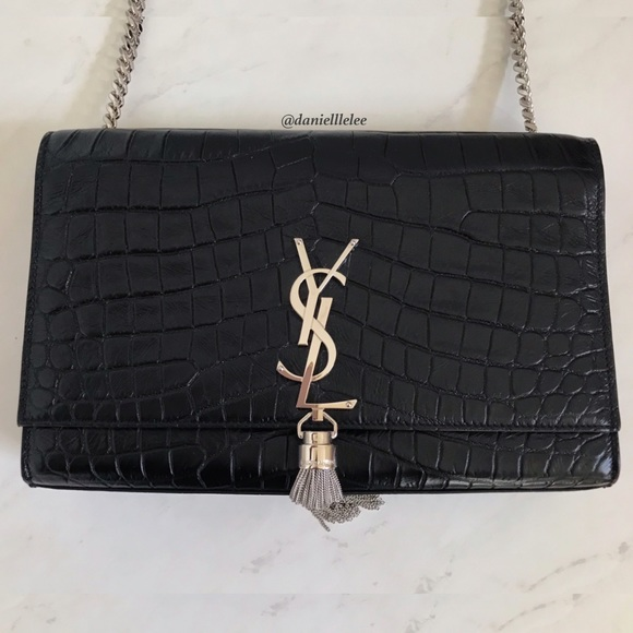 SAINT LAURENT Medium Crocodile Kate Tassel Satchel 0ba92c537f959